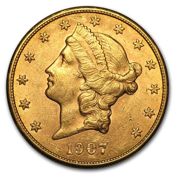 1907-S $20 Liberty Gold Double Eagle AU