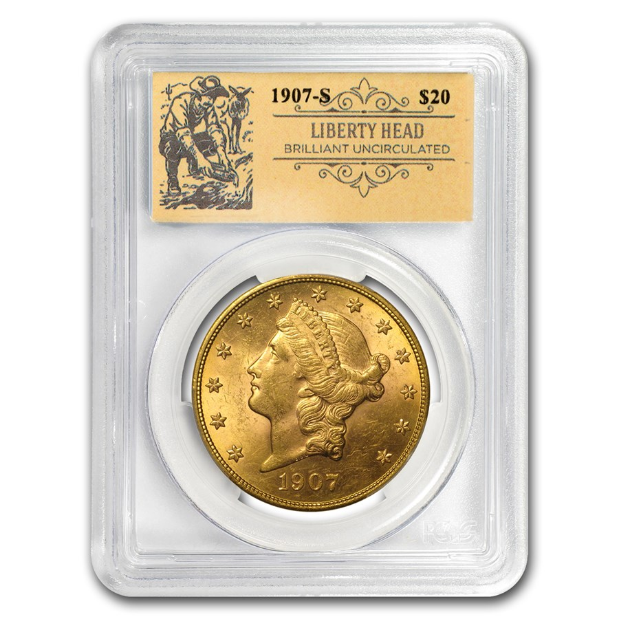 1907-S $20 Liberty Gold Double Eagle BU PCGS (Prospector Label)