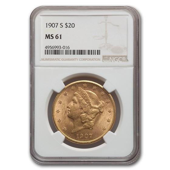 1907-S $20 Liberty Gold Double Eagle MS-61 NGC