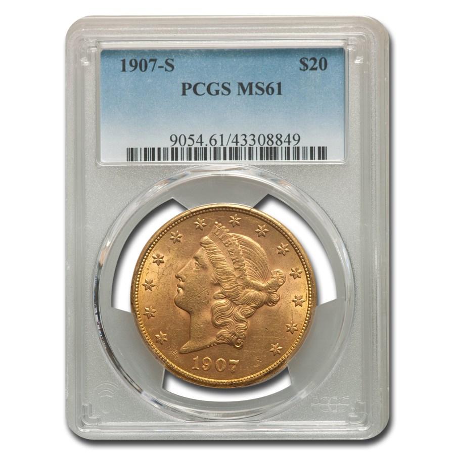 1907-S $20 Liberty Gold Double Eagle MS-61 PCGS