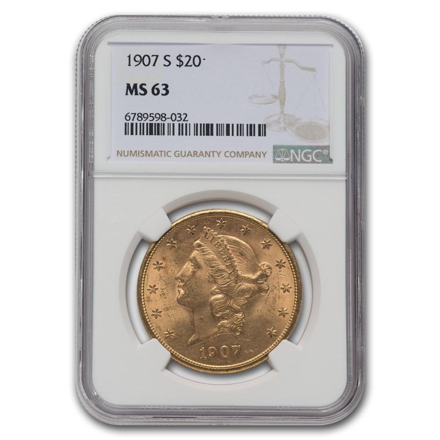 1907-S $20 Liberty Gold Double Eagle MS-63 NGC