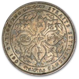 1907 Straits Settlements Silver Dollar of Edward VII EF+