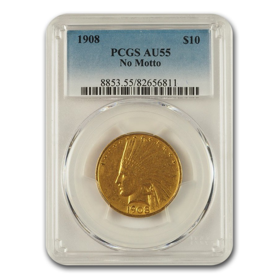 1908 $10 Indian Gold Eagle No Motto AU-55 PCGS
