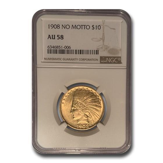1908 $10 Indian Gold Eagle No Motto AU-58 NGC