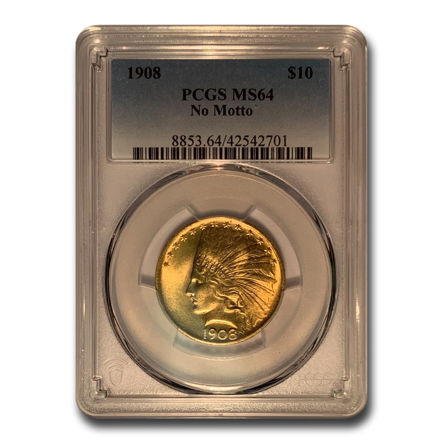 1908 $10 Indian Gold Eagle No Motto MS-64 PCGS