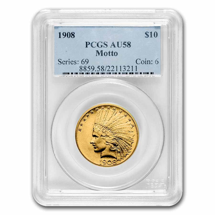 1908 $10 Indian Gold Eagle w/Motto AU-58 PCGS