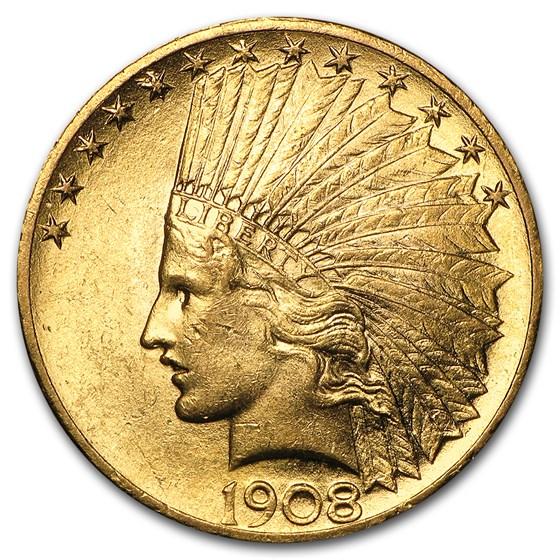 1908 $10 Indian Gold Eagle w/Motto AU