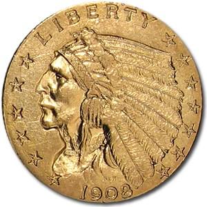 1908 $2.50 Indian Gold Quarter Eagle AU