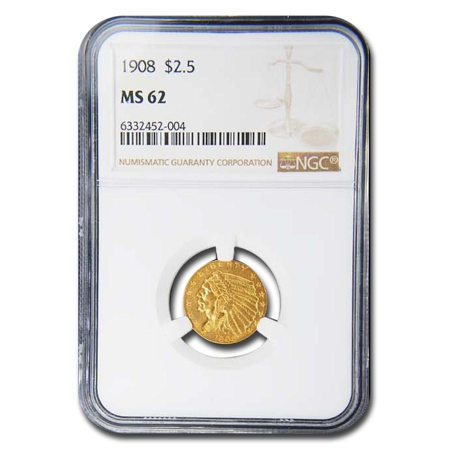 1908 $2.50 Indian Gold Quarter Eagle MS-62 NGC