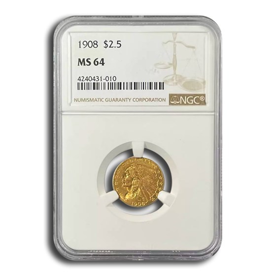 1908 $2.50 Indian Gold Quarter Eagle MS-64 NGC