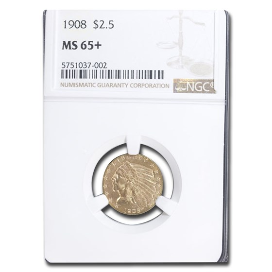 1908 $2.50 Indian Gold Quarter Eagle MS-65+ NGC