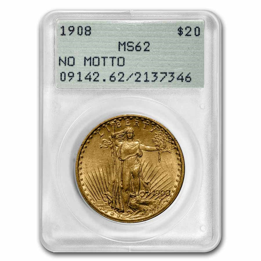 1908 $20 Saint-Gaudens Gold Double Eagle MS-62 PCGS (Rattler NM)
