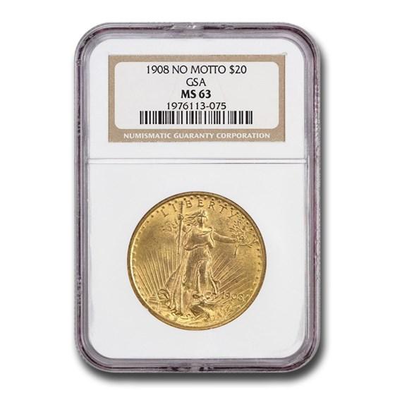 1908 $20 Saint-Gaudens Gold Double Eagle MS-63 NGC (No Motto GSA)