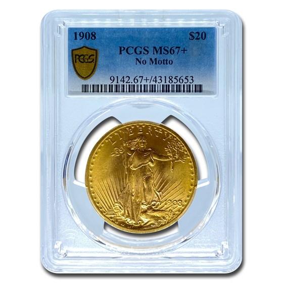 1908 $20 Saint-Gaudens Gold Double Eagle MS-67+ PCGS (No Motto)