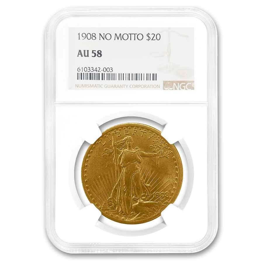 1908 $20 Saint-Gaudens Gold Double Eagle No Motto AU-58 NGC