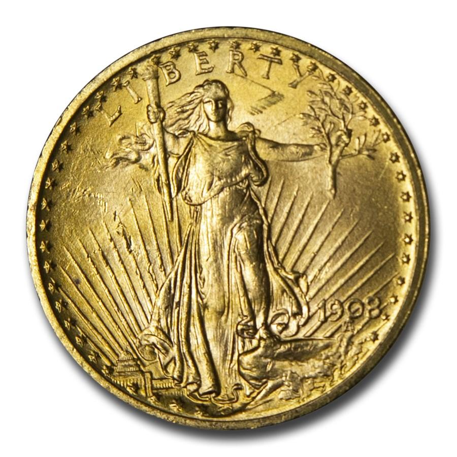 1908 $20 Saint-Gaudens Gold Double Eagle No Motto BU