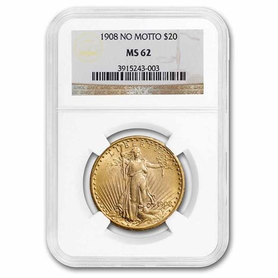 1908 $20 Saint-Gaudens Gold Double Eagle No Motto MS-62 NGC