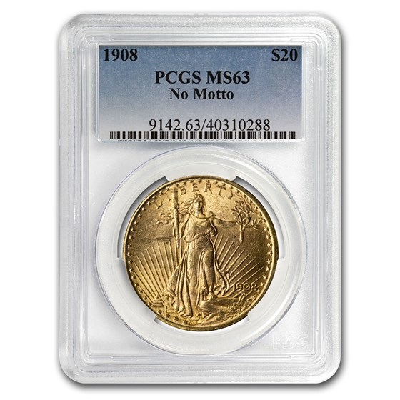 1908 $20 Saint-Gaudens Gold Double Eagle No Motto MS-63 PCGS