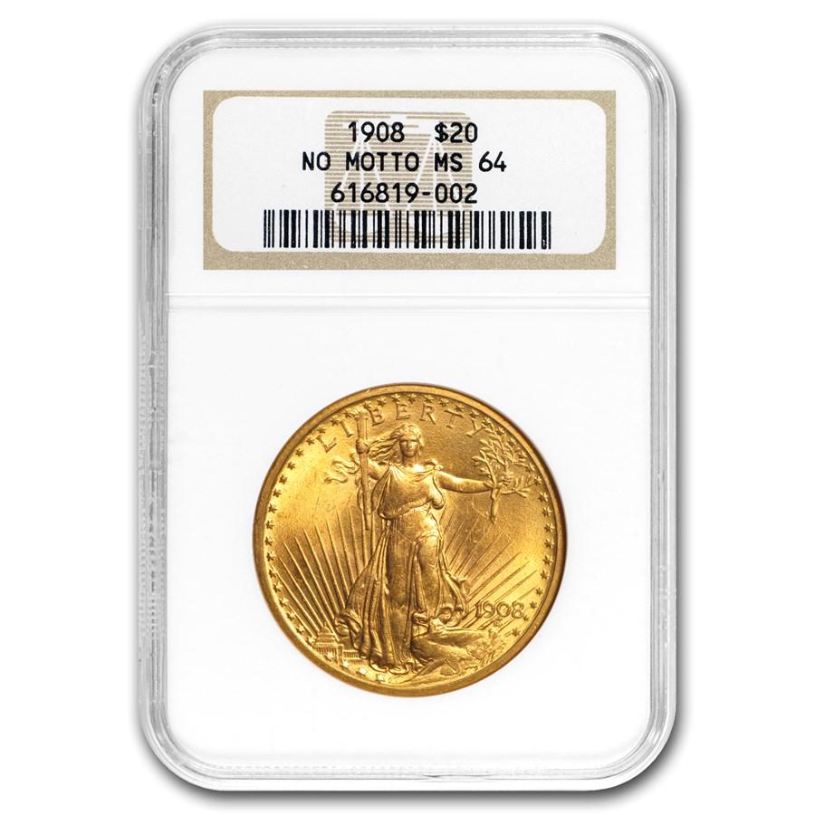 1908 $20 Saint-Gaudens Gold Double Eagle No Motto MS-64 NGC