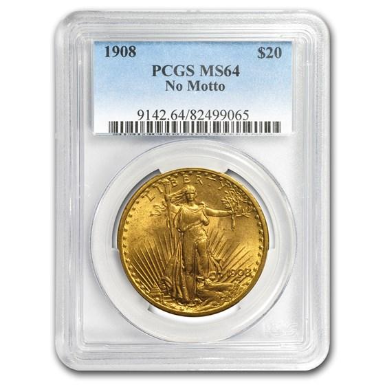 1908 $20 Saint-Gaudens Gold Double Eagle No Motto MS-64 PCGS