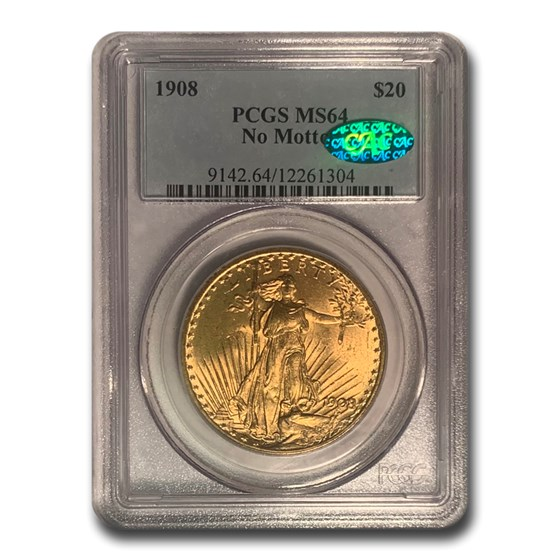 1908 $20 Saint-Gaudens Gold Double Eagle No Motto MS-64 PCGS(CAC)