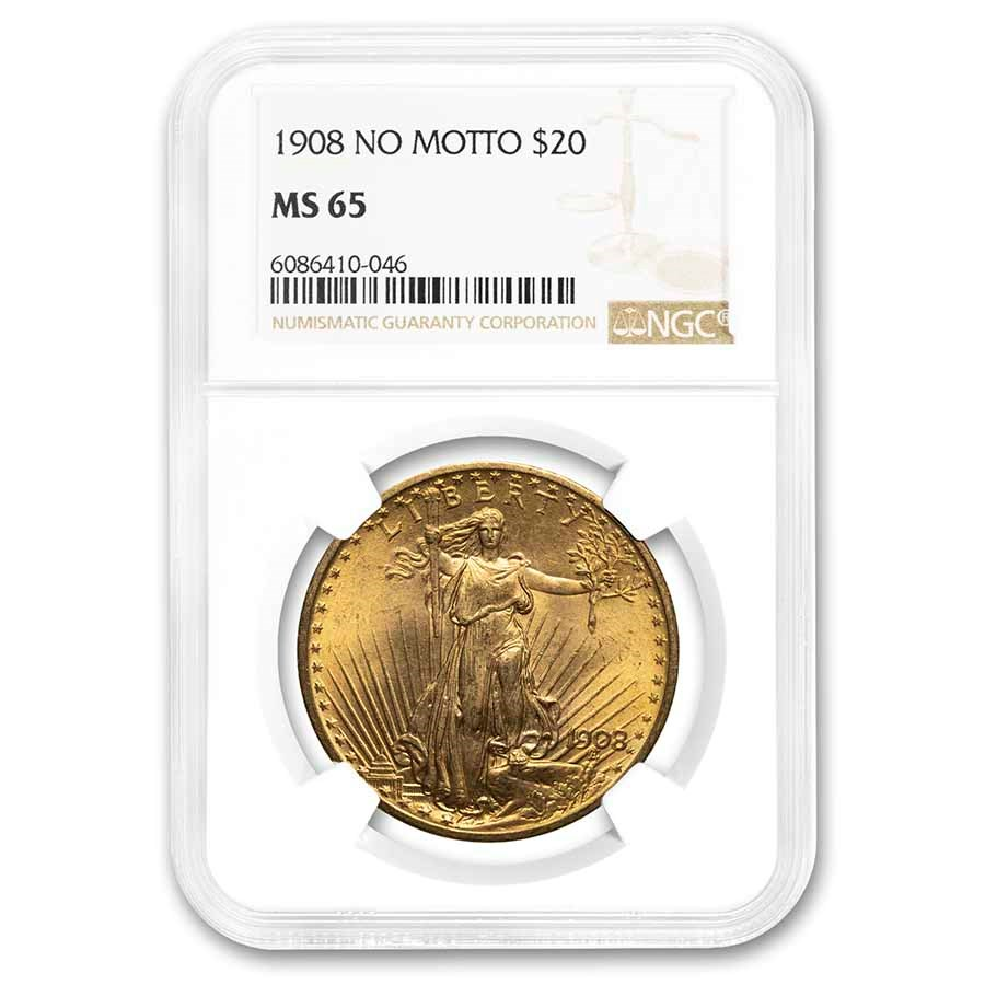 1908 $20 Saint-Gaudens Gold Double Eagle No Motto MS-65 NGC