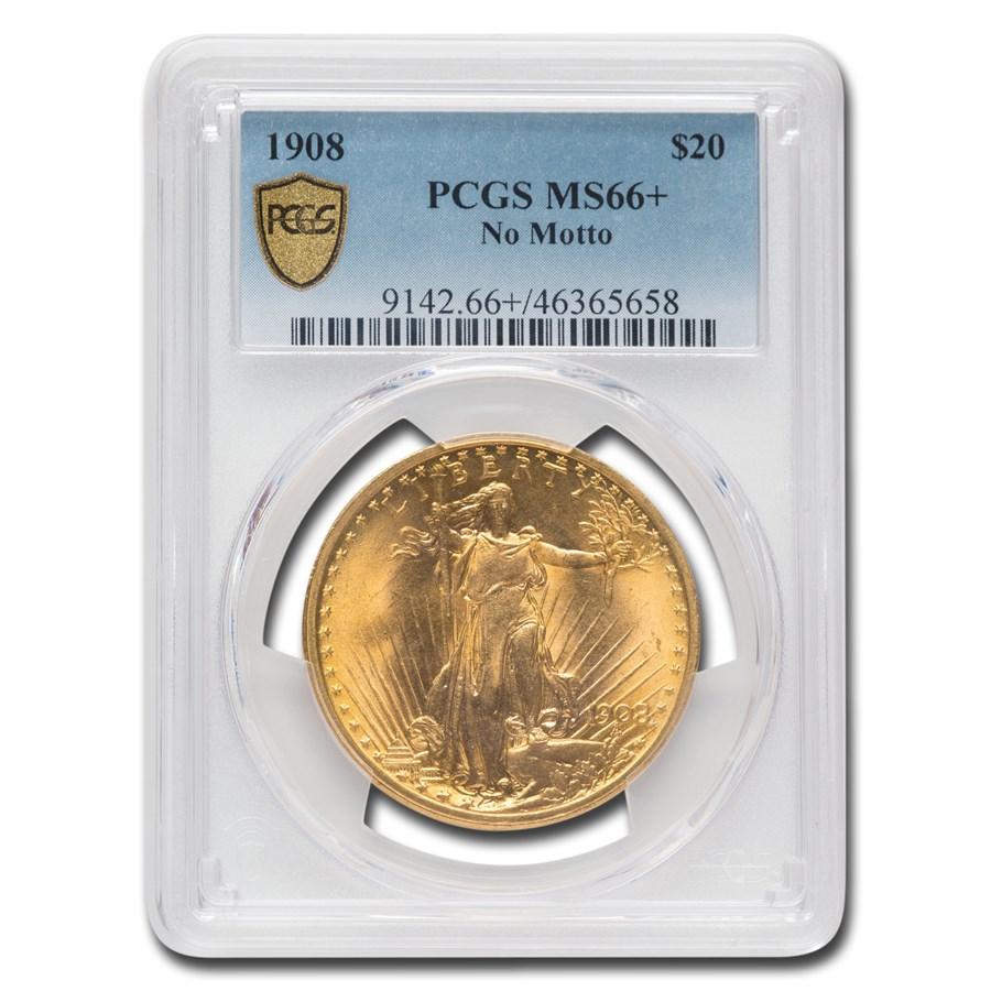 1908 $20 Saint-Gaudens Gold Double Eagle No Motto MS-66+ PCGS