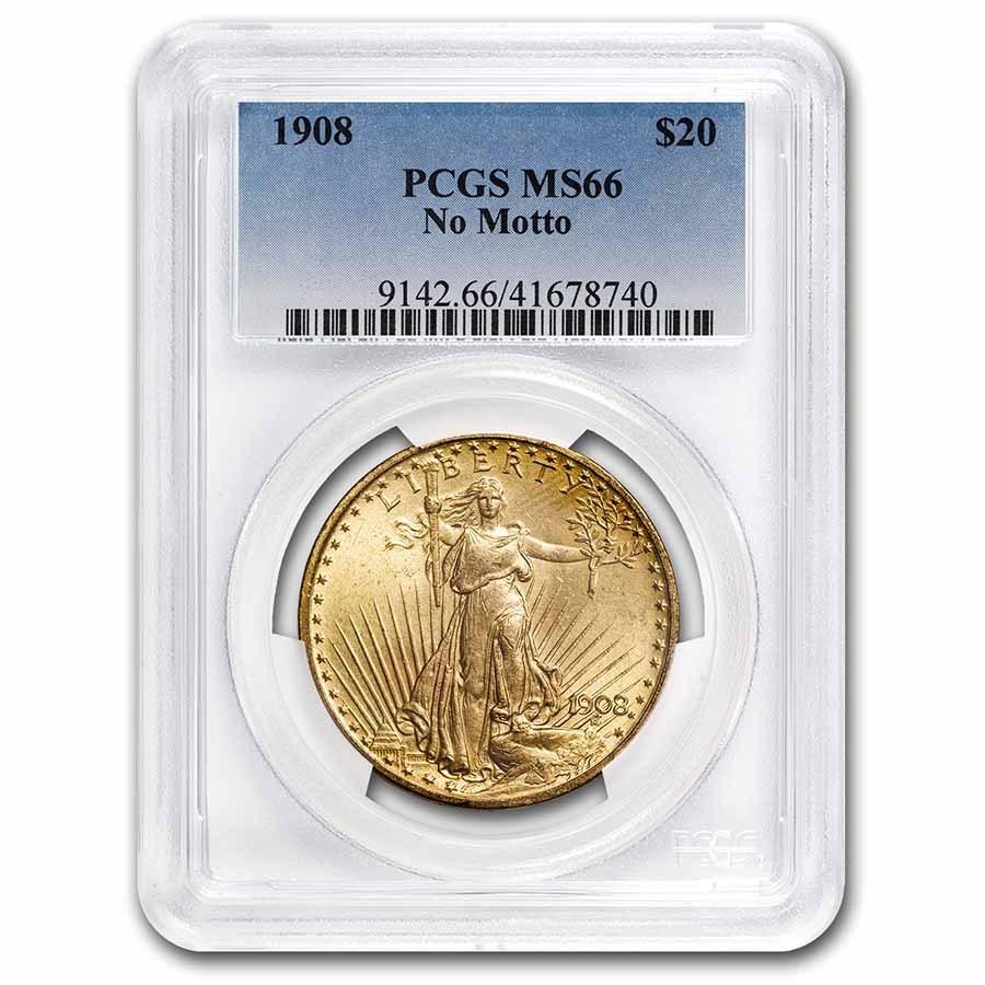1908 $20 Saint-Gaudens Gold Double Eagle No Motto MS-66 PCGS