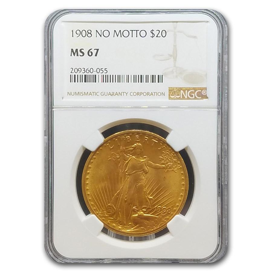 1908 $20 Saint-Gaudens Gold Double Eagle No Motto MS-67 NGC