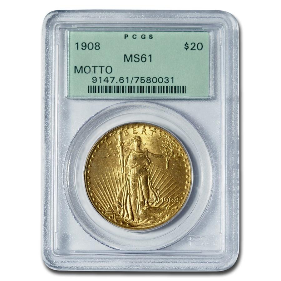 1908 $20 Saint-Gaudens Gold Double Eagle w/Motto MS-61 PCGS