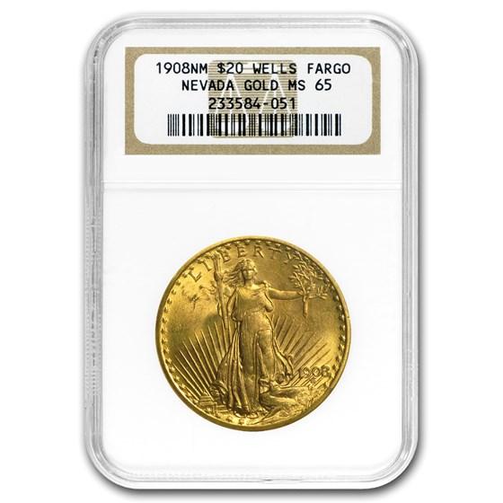 1908 $20 Saint-Gaudens Gold No Motto MS-65 NGC (Wells Fargo)