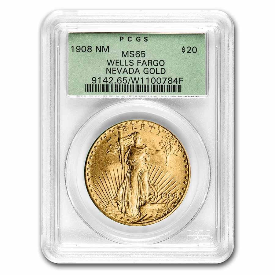 1908 $20 Saint-Gaudens Gold No Motto MS-65 PCGS (Wells Fargo OGH)