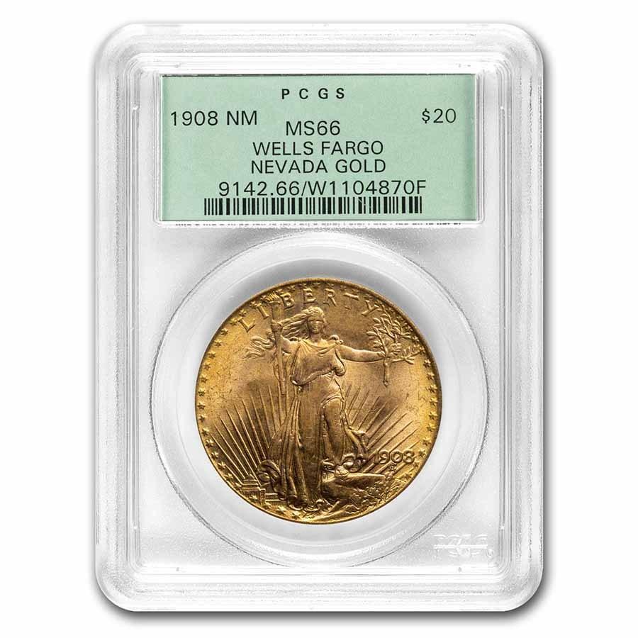 1908 $20 Saint-Gaudens Gold No Motto MS-66 PCGS (Wells Fargo OGH)