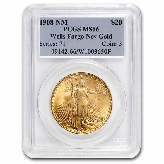 1908 $20 Saint-Gaudens Gold No Motto MS-66 PCGS (Wells Fargo)