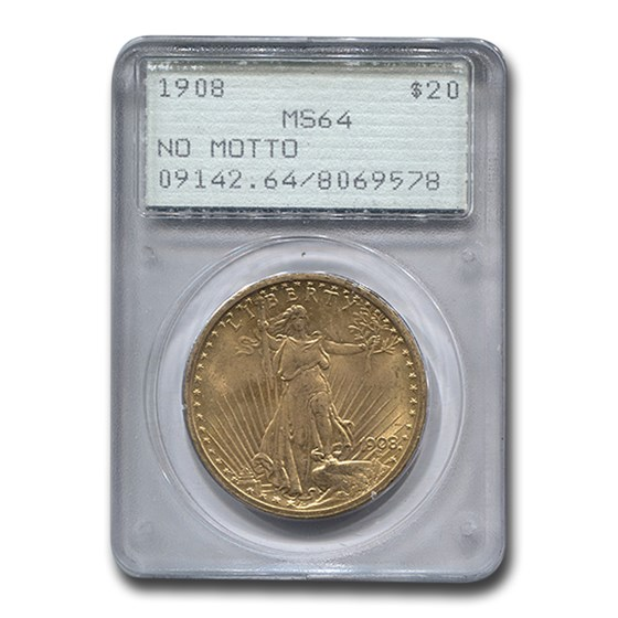 1908 $20 St. Gaudens Gold Dbl Eagle No Motto MS-64 PCGS (Rattler)