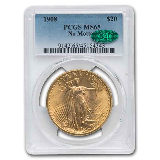 1908 $20 St. Gaudens Gold Double Eagle No Motto MS-65 PCGS CAC