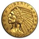 1908 $5 Indian Gold Half Eagle AU