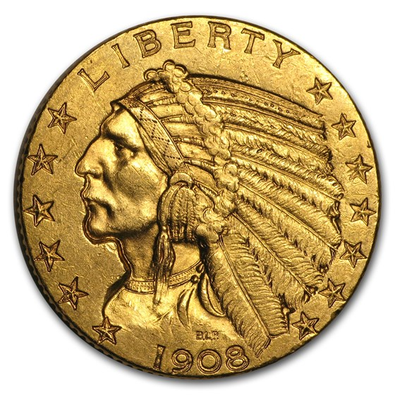 1908 $5 Indian Gold Half Eagle AU