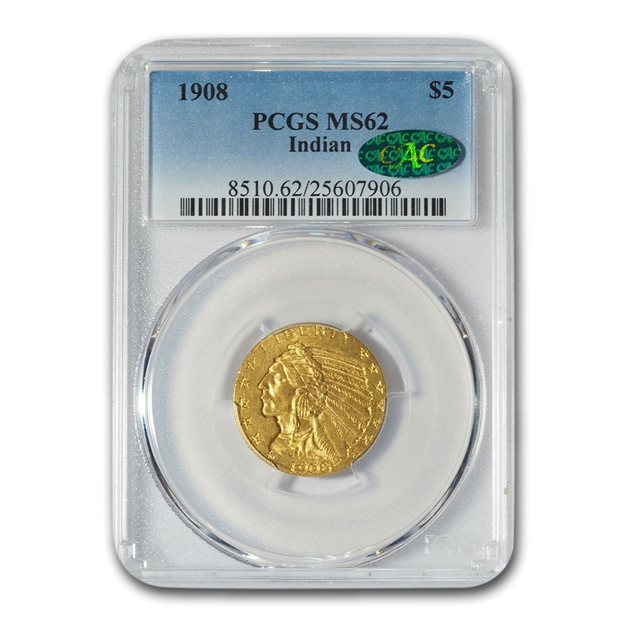 1908 $5 Indian Gold Half Eagle MS-62 PCGS CAC