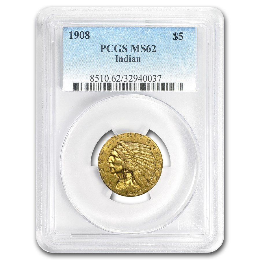 1908 $5 Indian Gold Half Eagle MS-62 PCGS