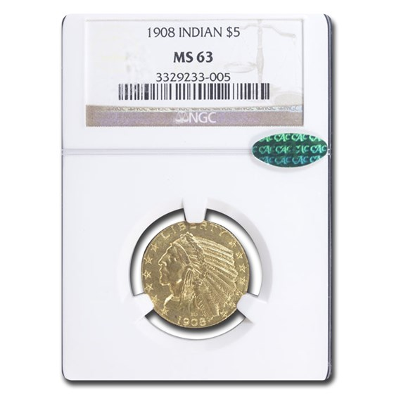 1908 $5 Indian Gold Half Eagle MS-63 NGC CAC
