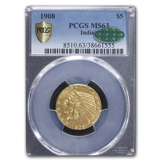 1908 $5 Indian Gold Half Eagle MS-63 PCGS (CAC)