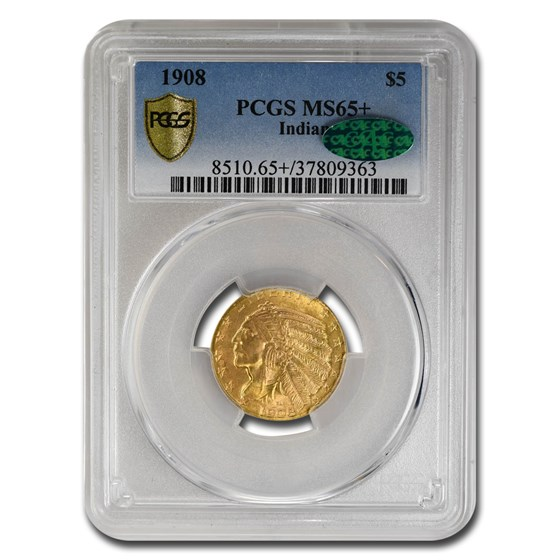 1908 $5 Indian Gold Half Eagle MS-65+ PCGS CAC
