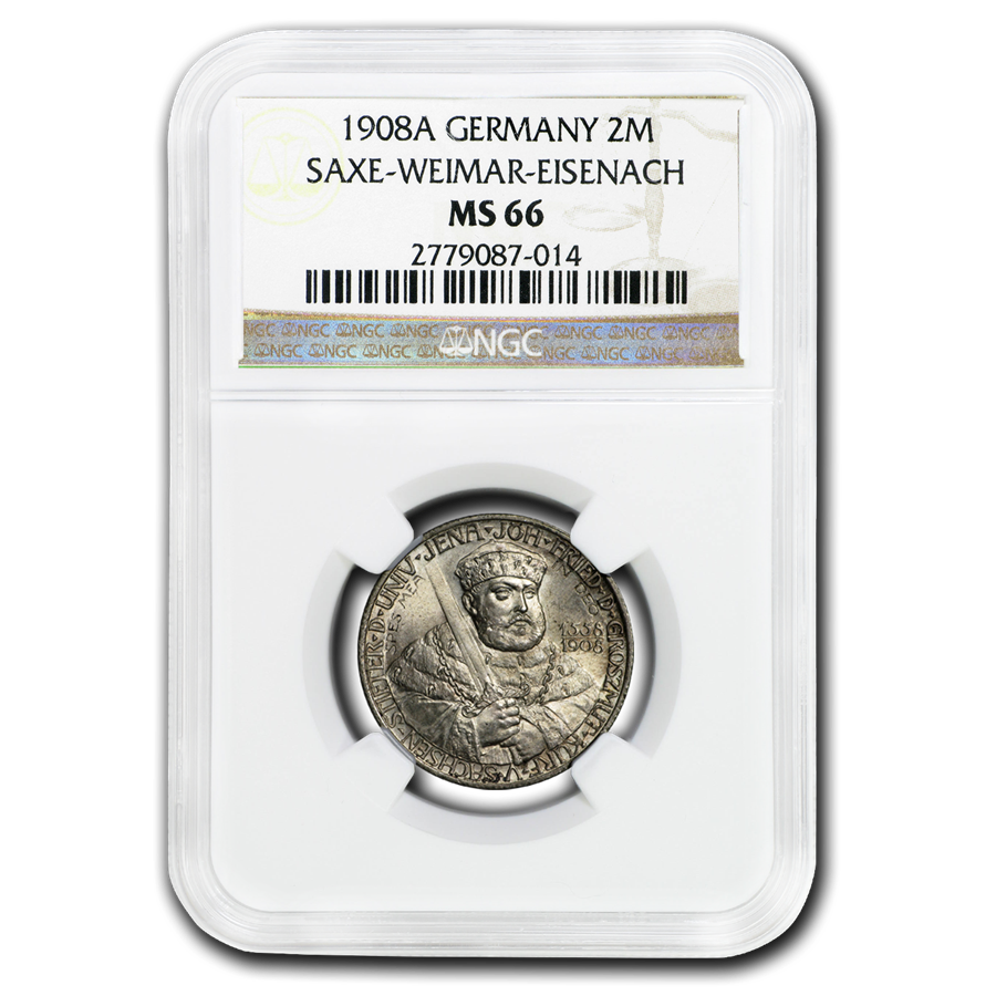 1908-A Germany/Saxe-Weimar-Eisenach Silver 2 Mark MS-66 NGC