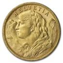 1908-B Swiss Gold 20 Francs Helvetia BU