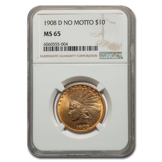 1908-D $10 Indian Gold Eagle MS-65 NGC (No Motto)