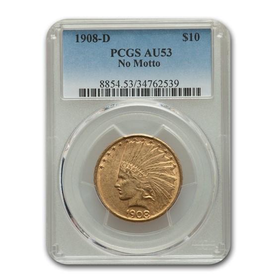 1908-D $10 Indian Gold Eagle No Motto AU-53 PCGS