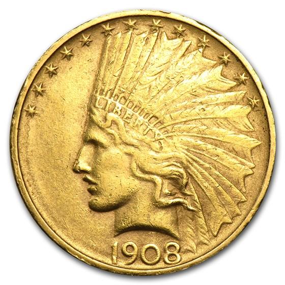 1908-D $10 Indian Gold Eagle No Motto AU