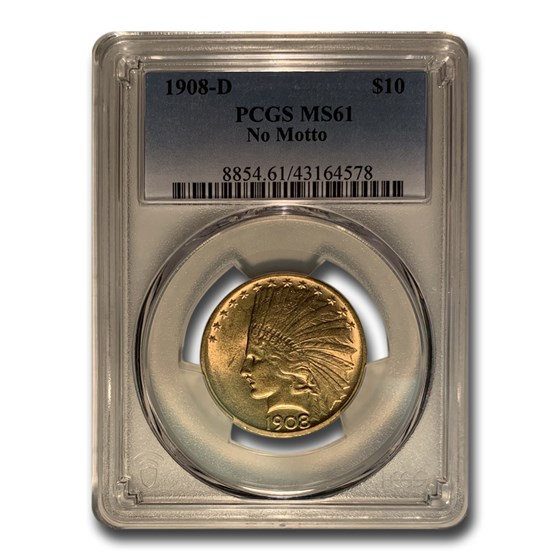 1908-D $10 Indian Gold Eagle No Motto MS-61 PCGS