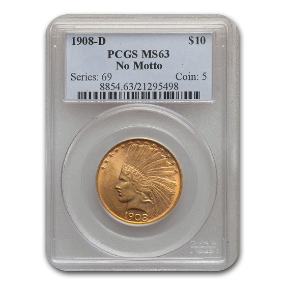 1908-D $10 Indian Gold Eagle No Motto MS-63 PCGS